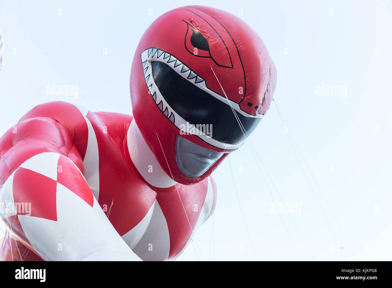 New York, United States. 23rd Nov, 2017. Red Mighty Morphin Power Ranger balloon floats during 91st Annual Macy's - Stock Image