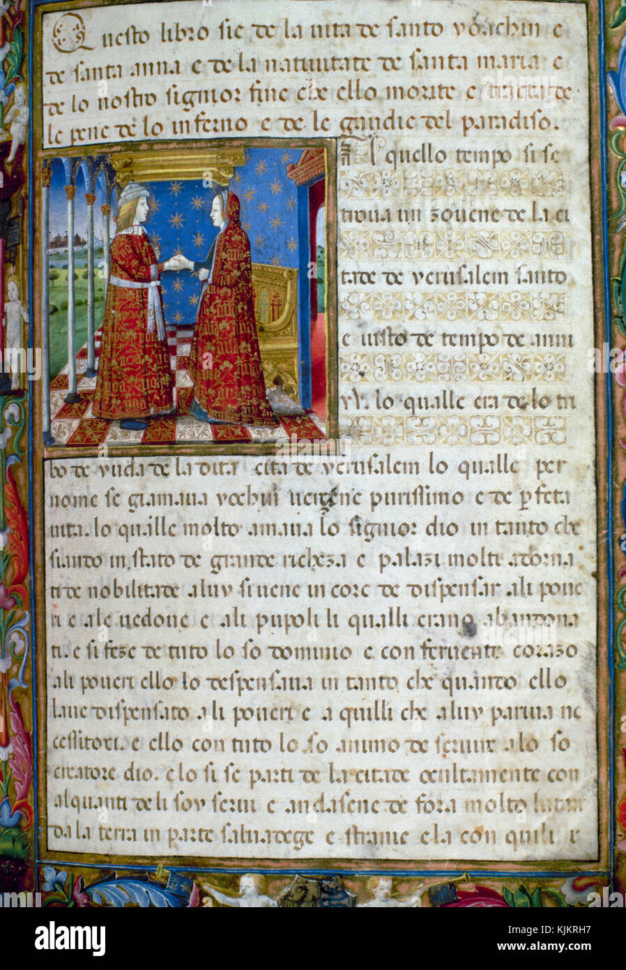 Codex De Predis. First illuminated page. The sponsors of the volume, the Duke Galeazzo Maria Sforza and his wife, - Stock Image