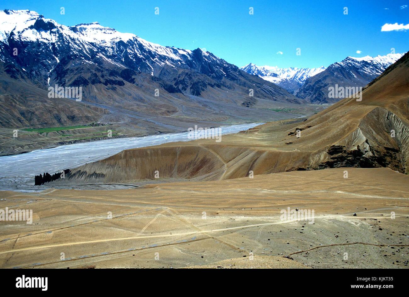 Spiti river landscape. India. - Stock Image