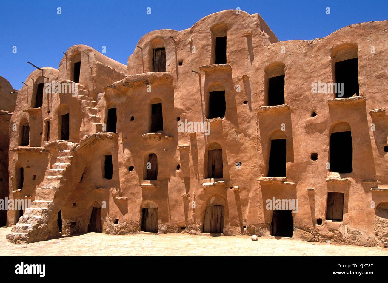 Ksar Ouled Soltane storehouses (Ghorfas). Tunisia. Stock Photo