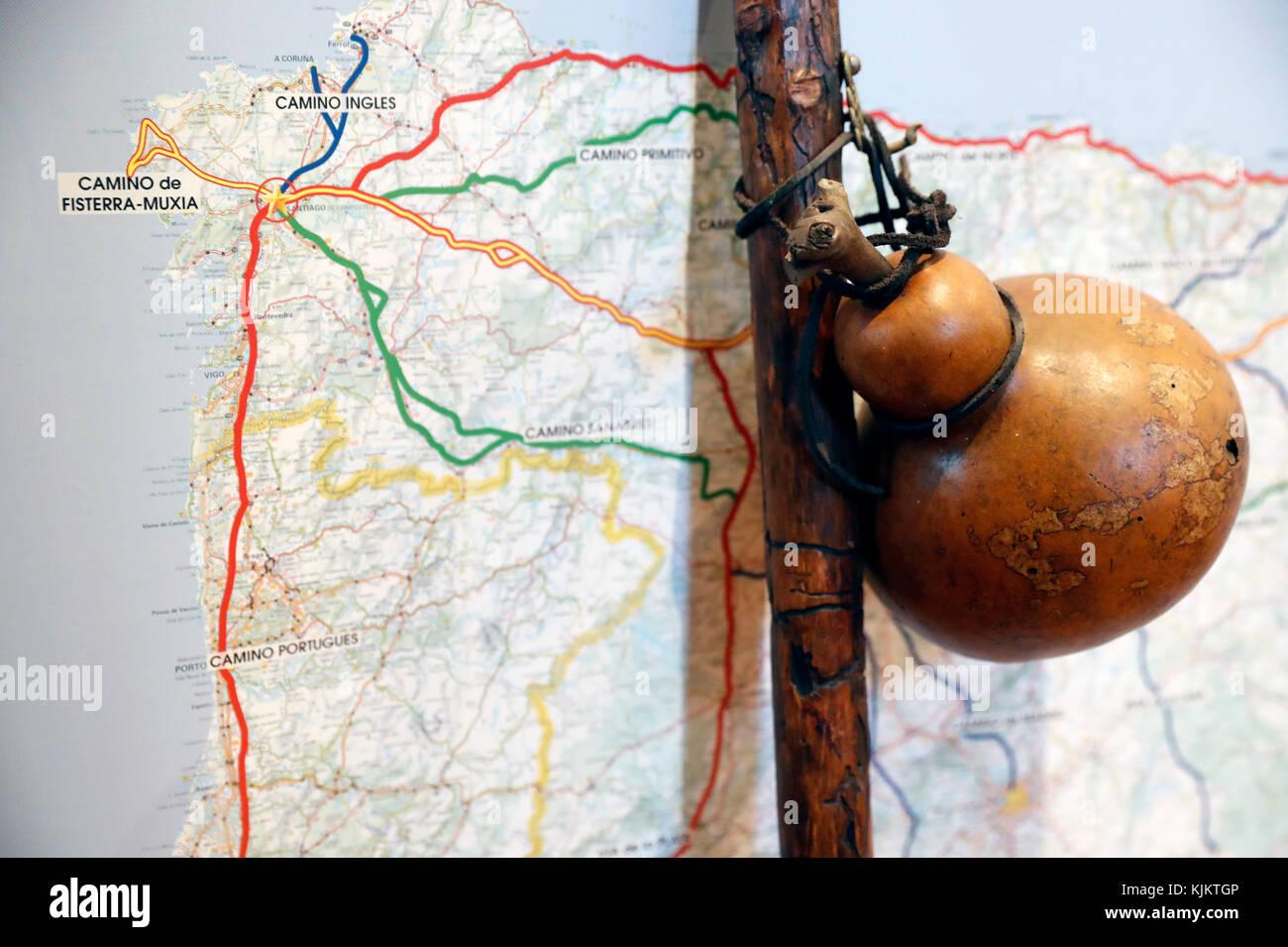 Route of Santiago de Compostela and pilgrim's staff. France. - Stock Image
