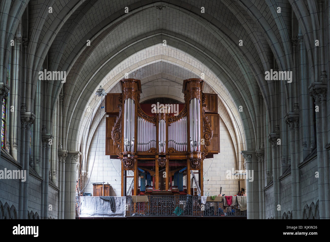 Stained glass in Saint-AndrŽ-de-l'Europe church. Organ.  Paris. France. - Stock Image