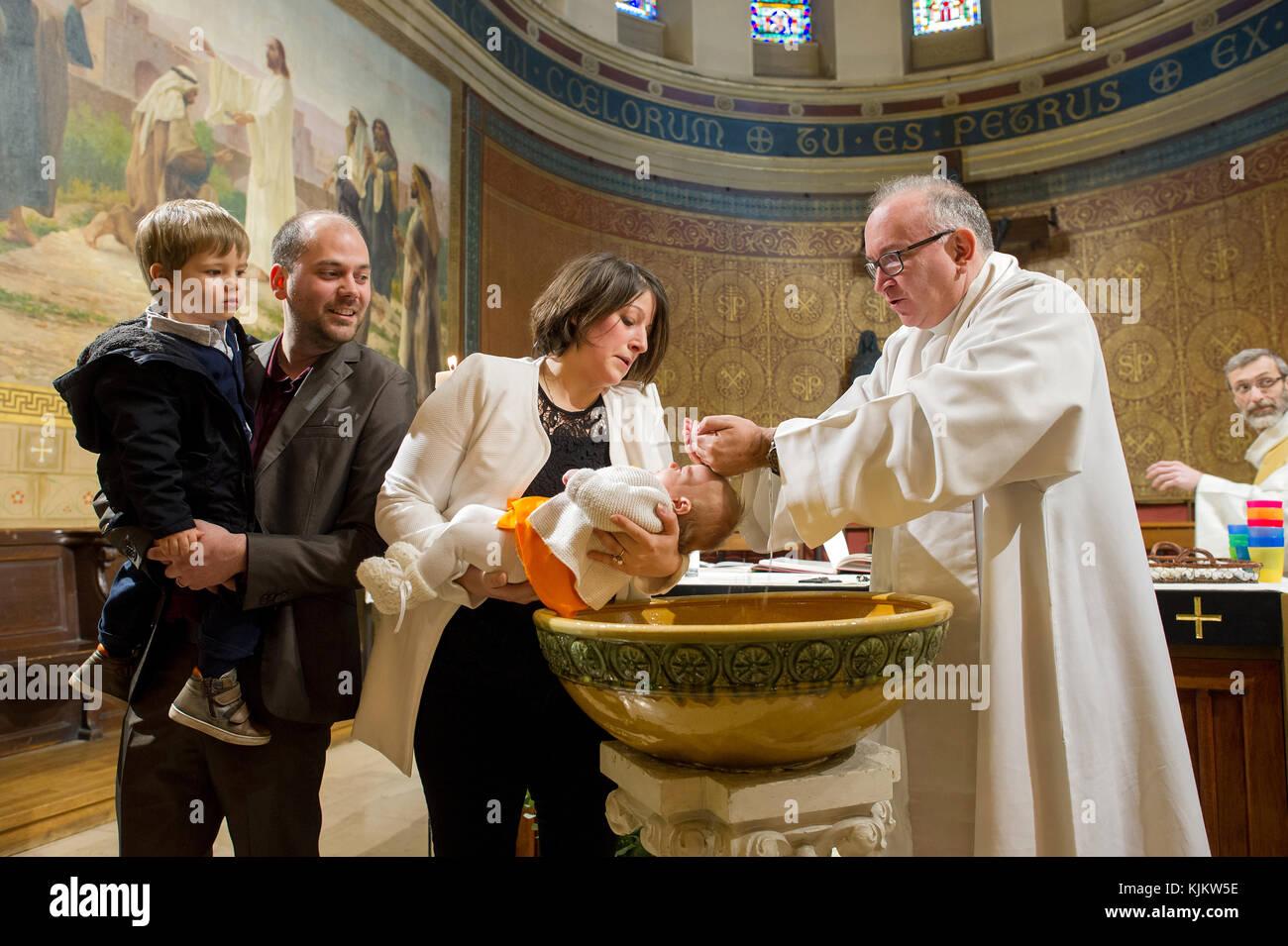 Catholic baptism. France Stock Photo: 166393962 - Alamy
