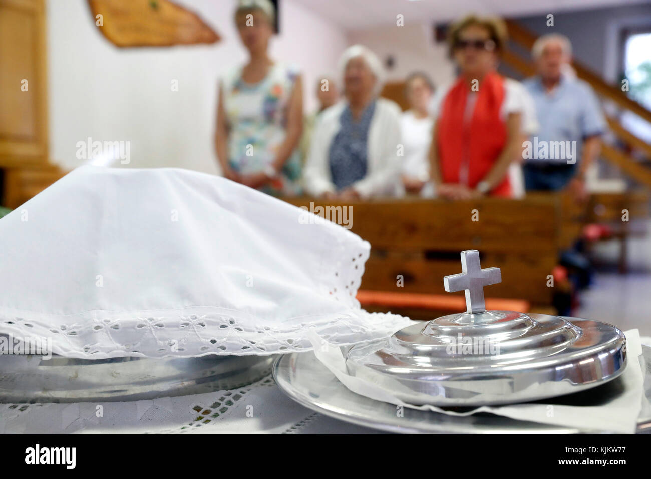 Sunday service at a Protestant church.  Holy communion.  Cluses. France. Stock Photo