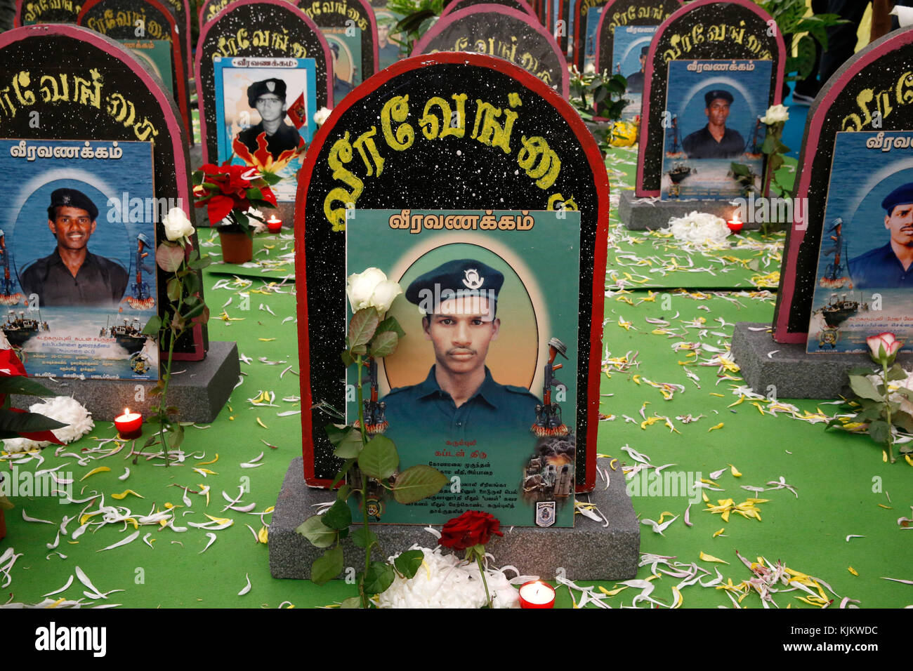 Tamil Eelam meeting in Sarcelles, France. Homage to the fallen soldiers of Tamil Eelam. - Stock Image