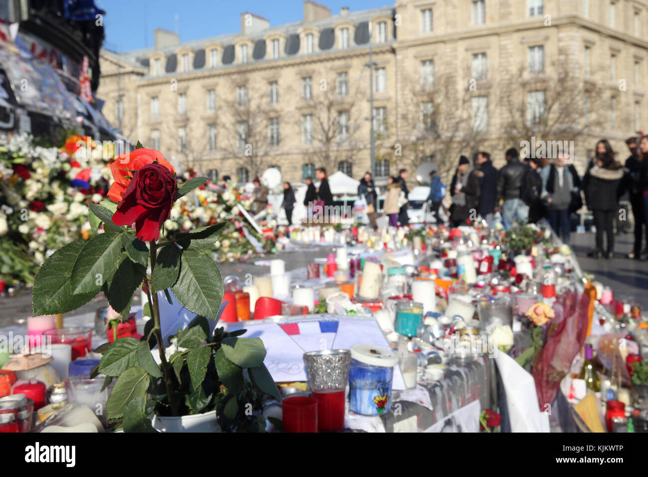 National tribute for the victims of the Paris terrorist attacks. Islamic State (ISIS) jihadists claimed coordinated - Stock Image