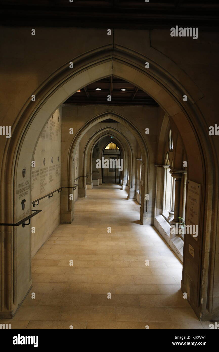 The American cathedral of the Holy Trinity, Paris. Cloister. France. - Stock Image