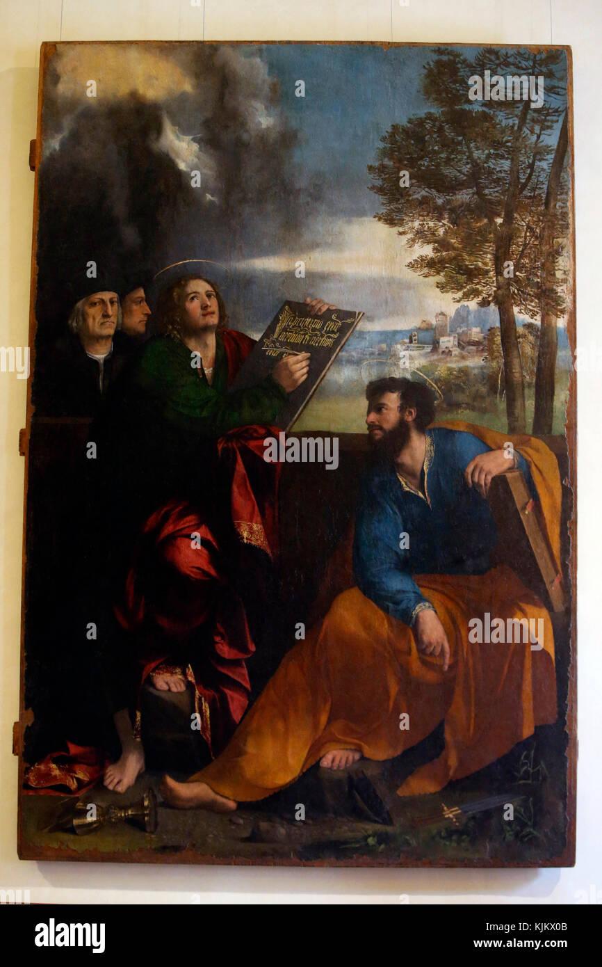 Barberini gallery, Rome. St John the Evangelist and Saint Bartholomew with Pontichino della sale and a memenber - Stock Image