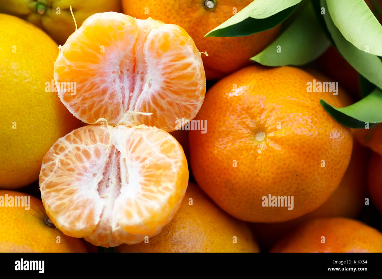 Closeup of fresh tangerines Stock Photo