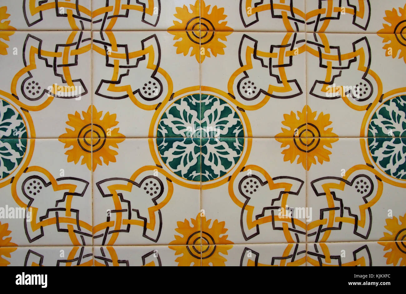 Portuguese tiles (azulejos), green and yellow pattern in Lisbon Stock Photo