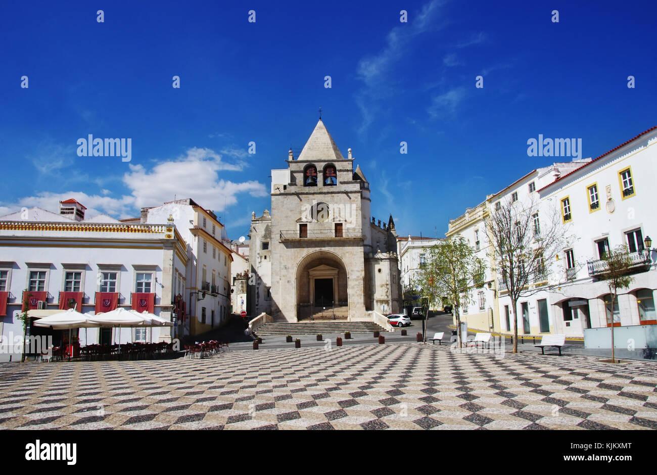 square in the town of Elvas. Alentejo Region. Portugal Stock Photo