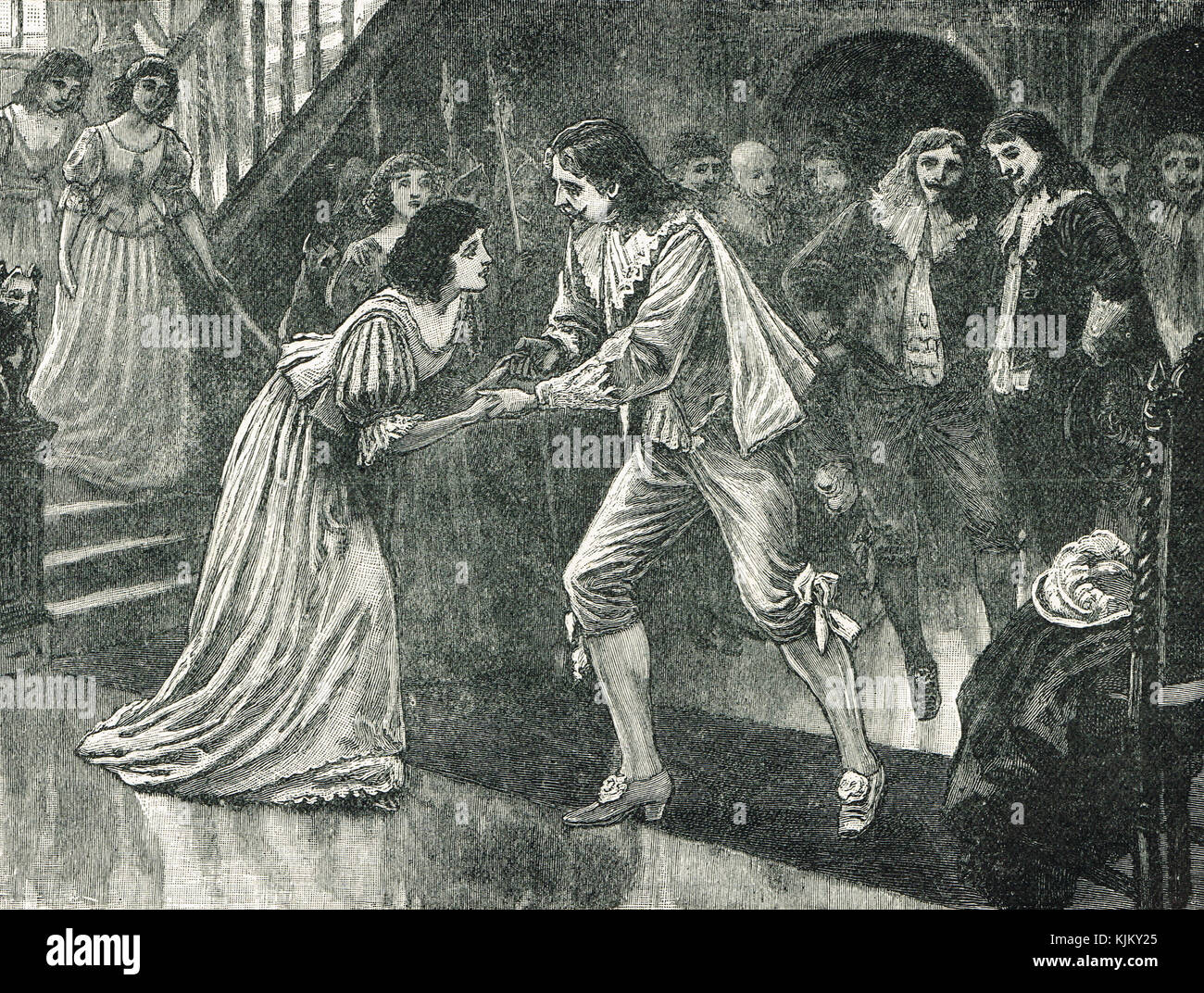 Charles I welcoming his Queen to England, 1625 - Stock Image