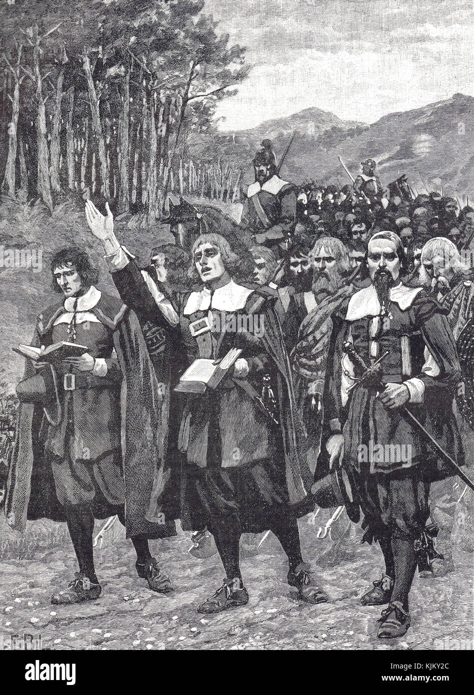 Scottish Covenanters army invasion of England, 20 August 1640, Second Bishops' War - Stock Image