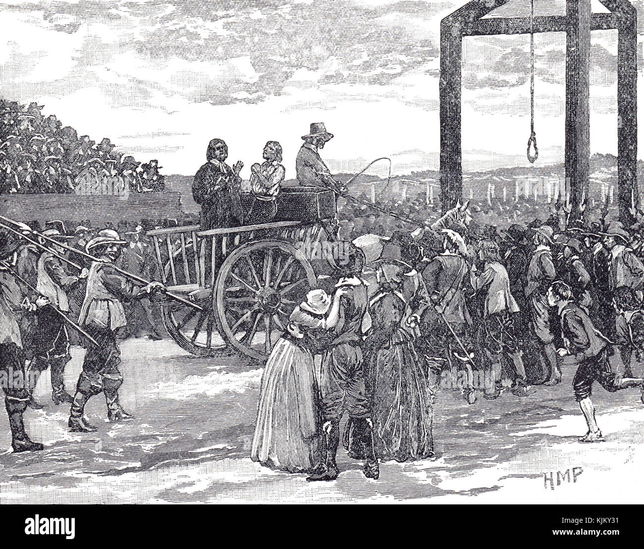 Tyburn Gallows at the time of Charles I - Stock Image