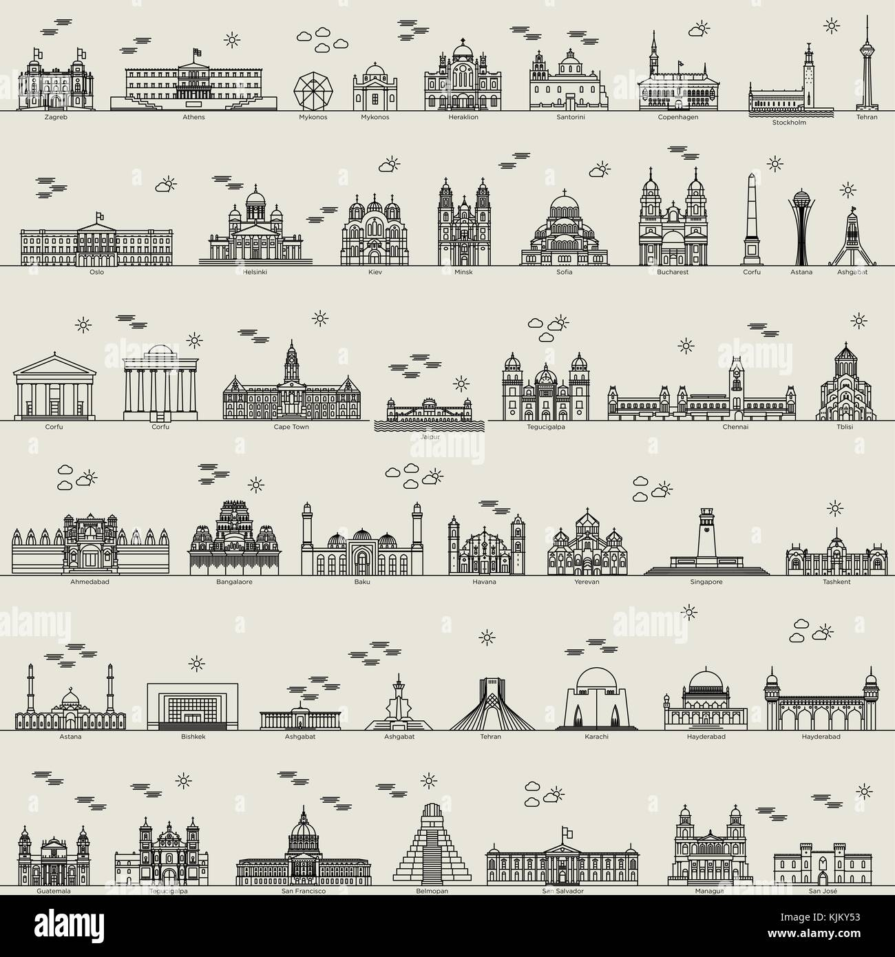vector line world city collection set icon sign - Stock Vector