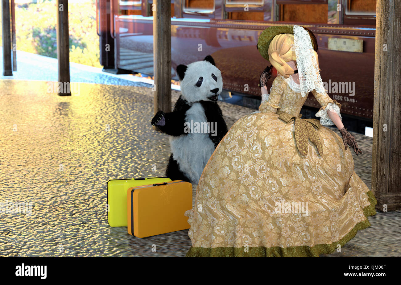 panda helper came to meet a toon lady who arrived at a rail