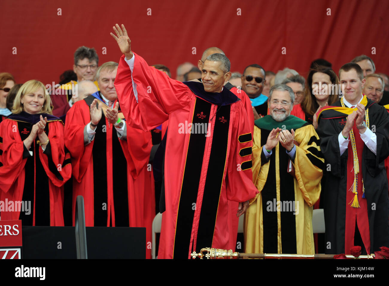 NEW BRUNSWICK, NJ - MAY 15: President Barack Obama receives honory degree from Rutgers President Robert Barchi and - Stock Image