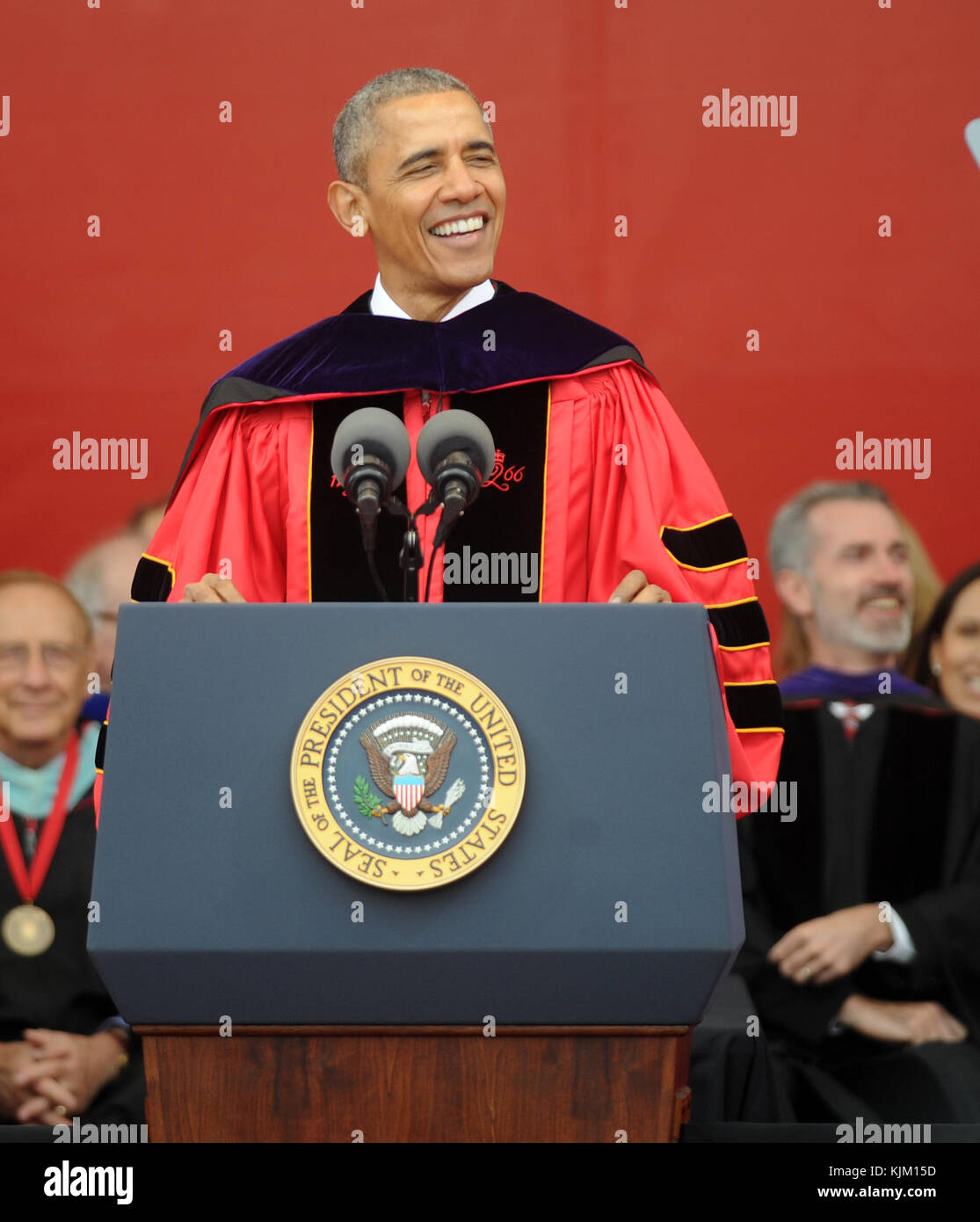NEW BRUNSWICK, NJ - MAY 15: President Barack Obama receives honory degree from Rutgers President Robert Barchi and Stock Photo