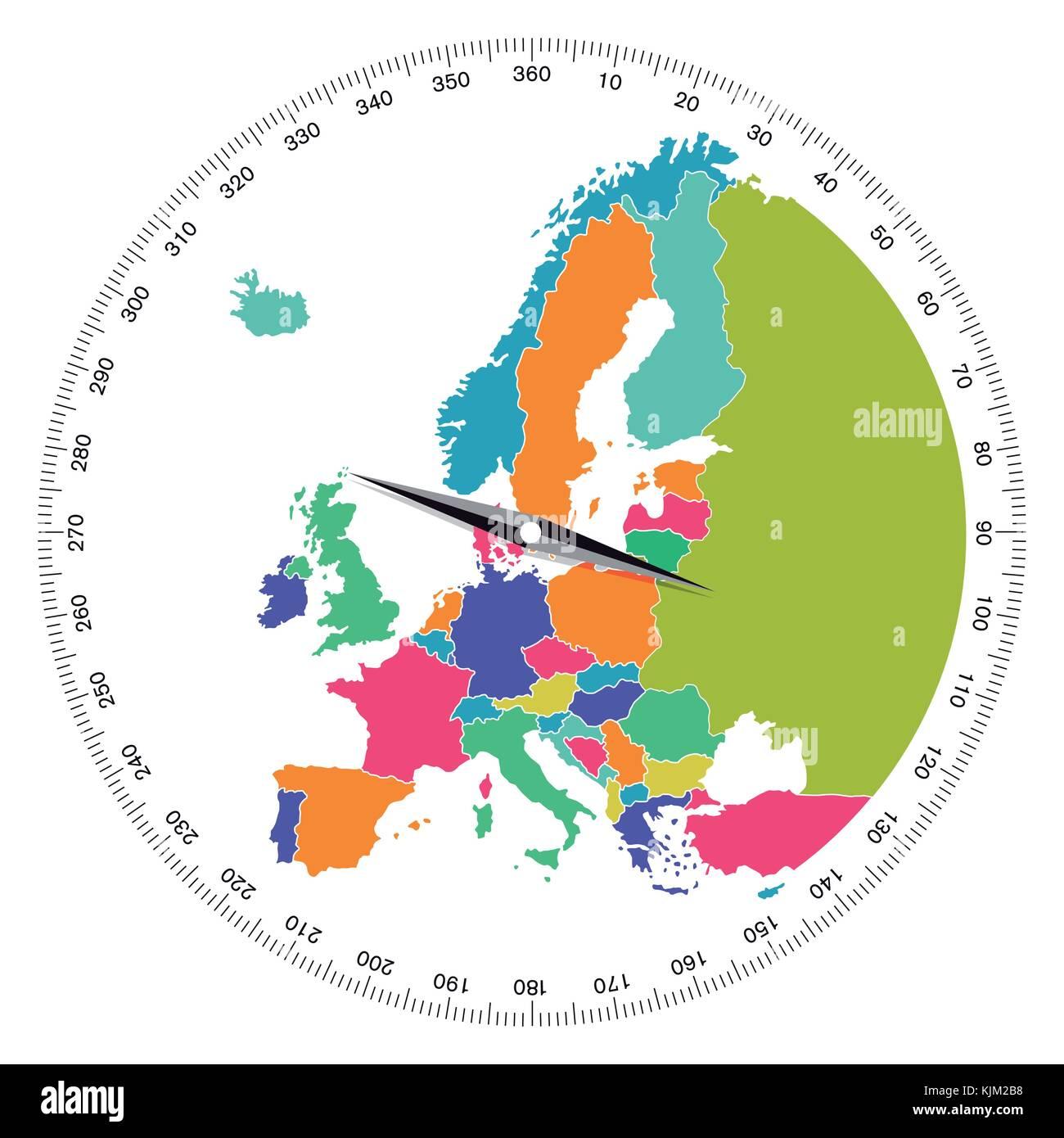 Europe, direction concept, illustration - Stock Image