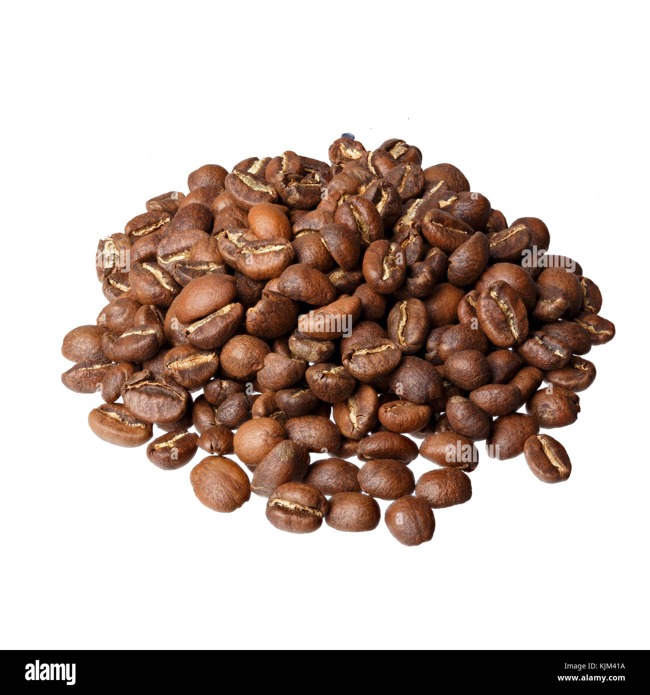 Ethiopia Yirgacheffe gourmet coffee on white background. - Stock Image