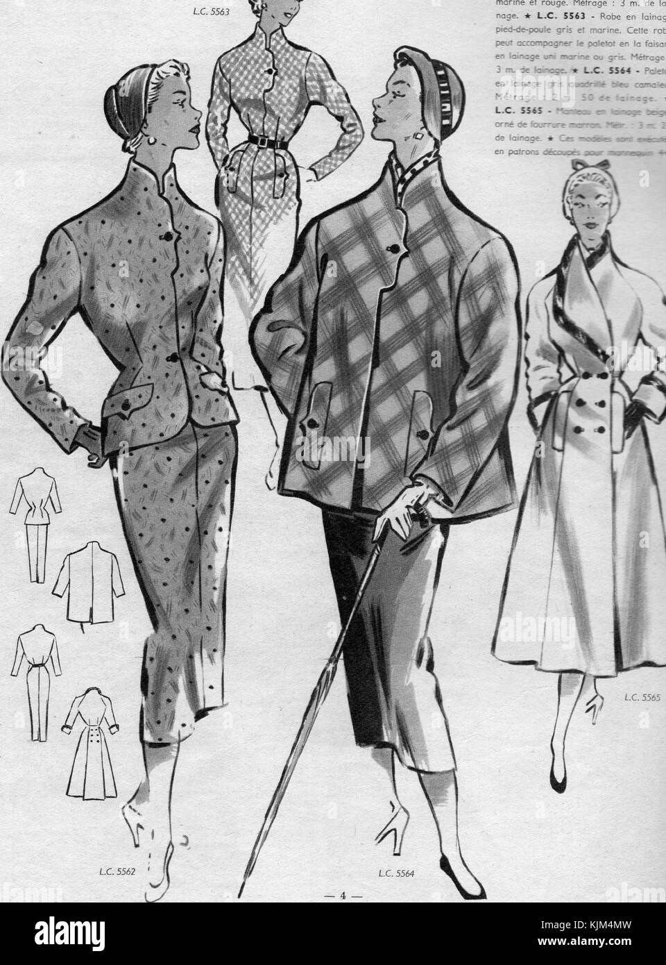 1950`s French Fashion Print - Stock Image