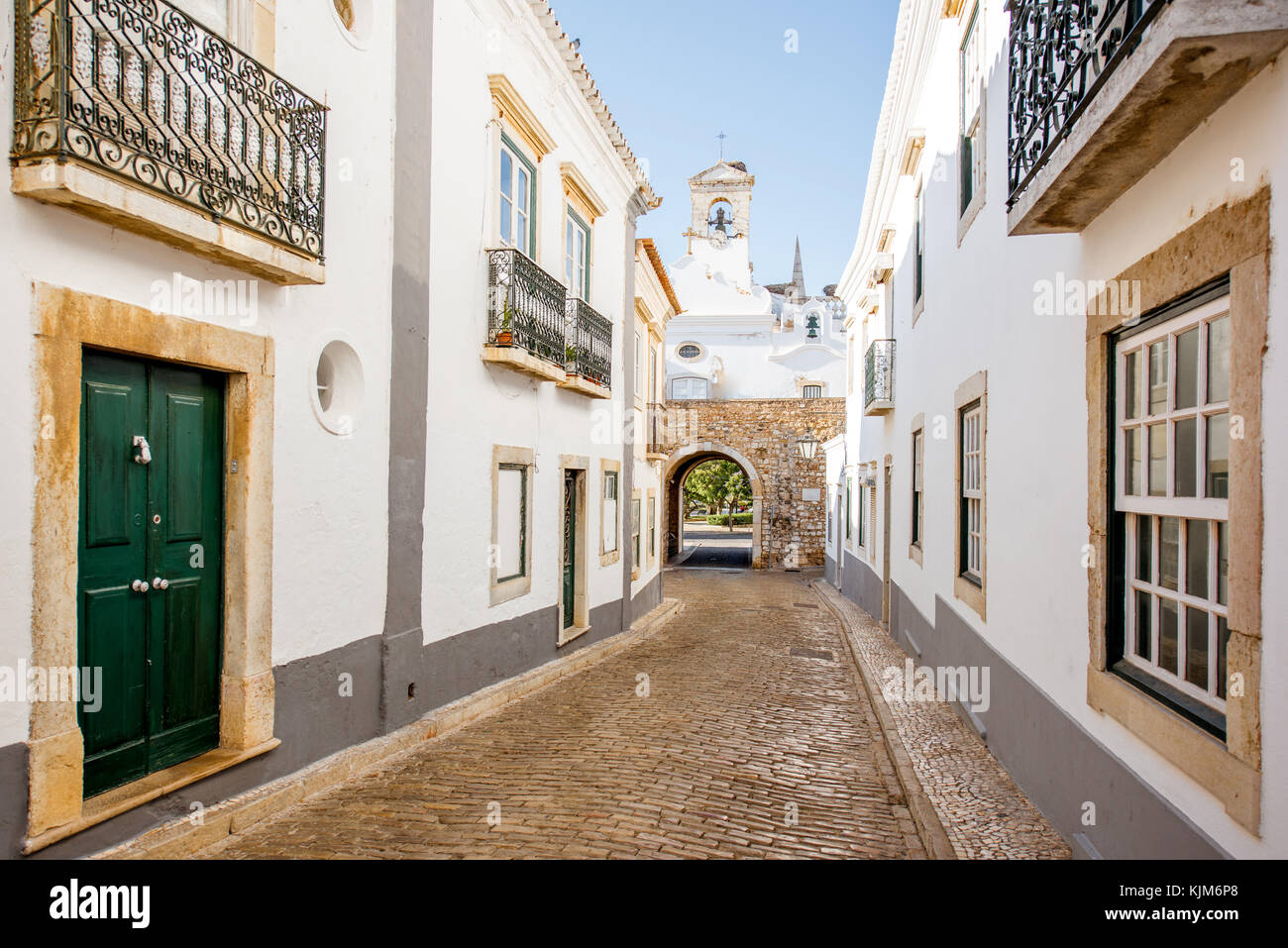 Faro street view in Portugal - Stock Image