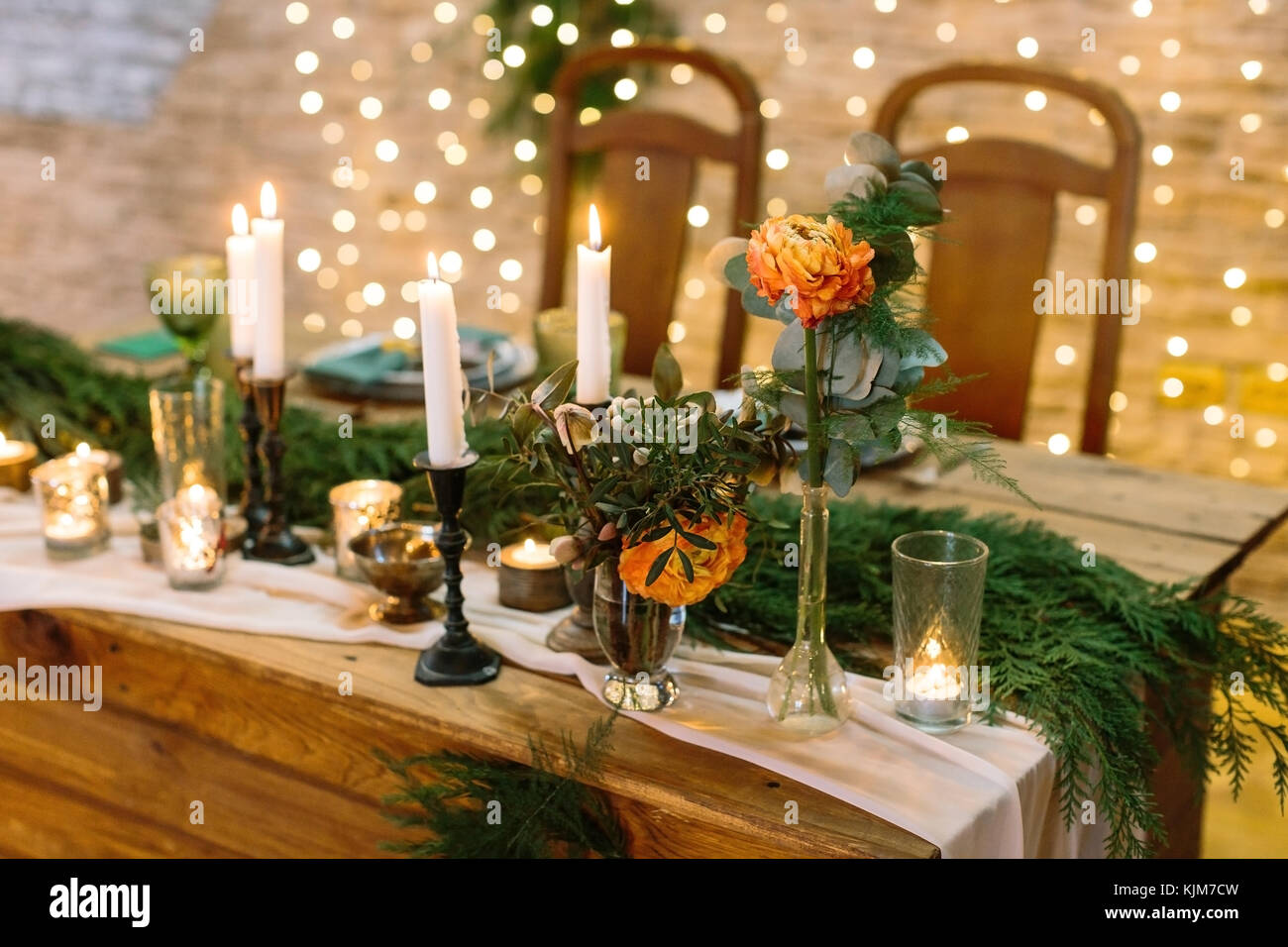 christmas, celebration, design concept. close up of delicate flower, bud of rose in tender orange colour, it is - Stock Image