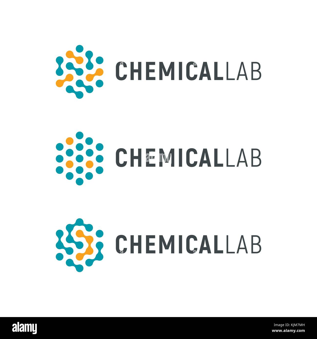 Chemical lab logo template  Abstract hexagon vector logotype