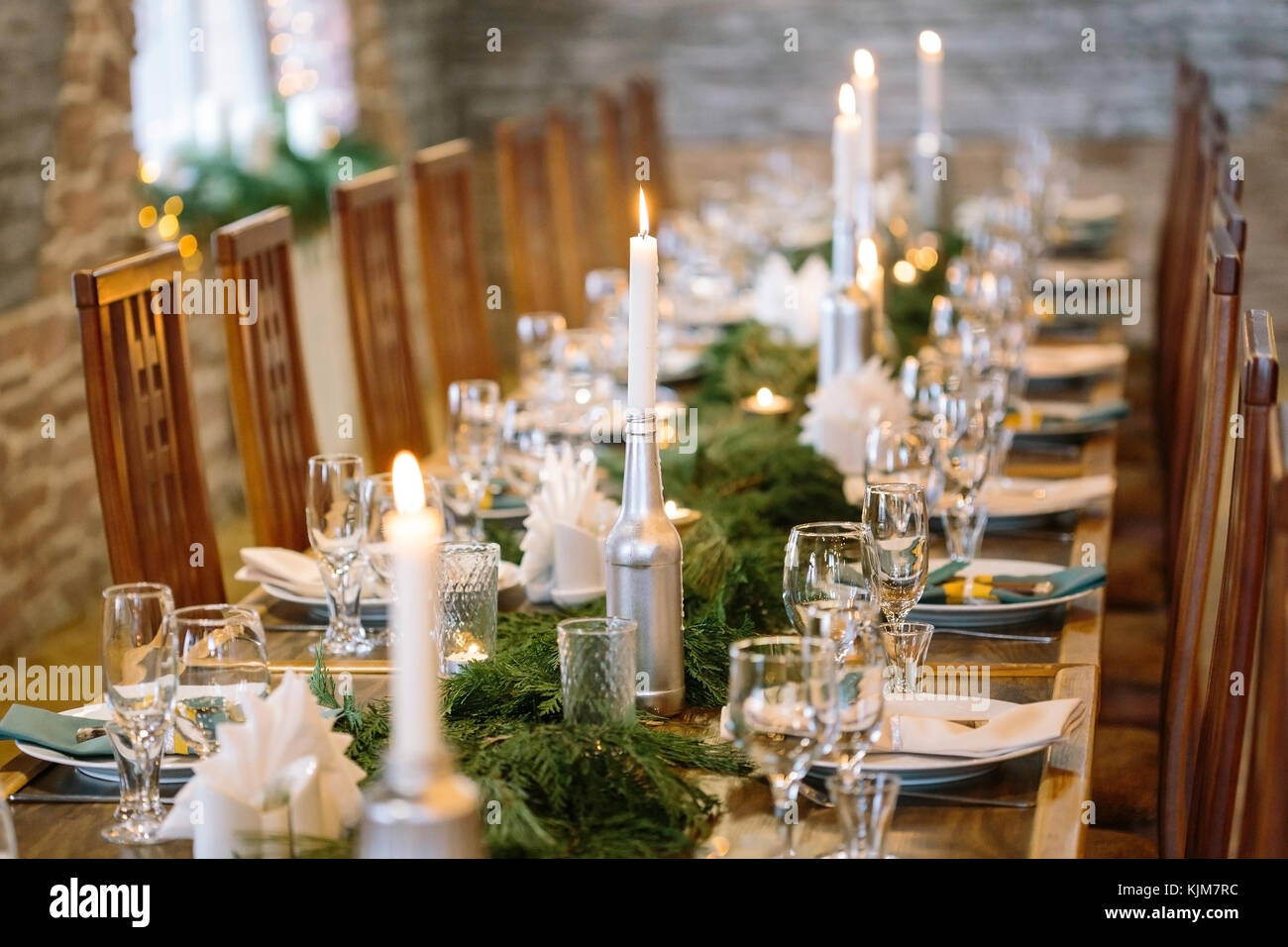 nature, winter, table setting concept. among clean plates, sparkling ...