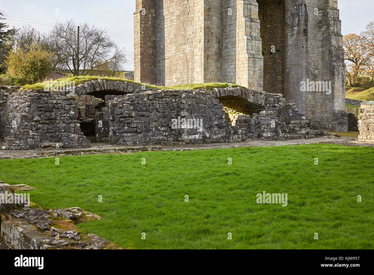The cellarer's range. Heavy arched vault storage area for food and drink at Shap Abbey. Shap, Cumbria. English - Stock Image