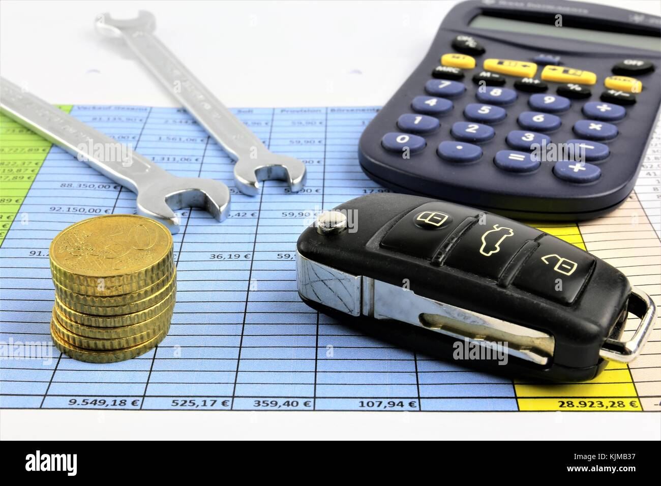 An concept Image of car maintenance costs - repair costs - Stock Image