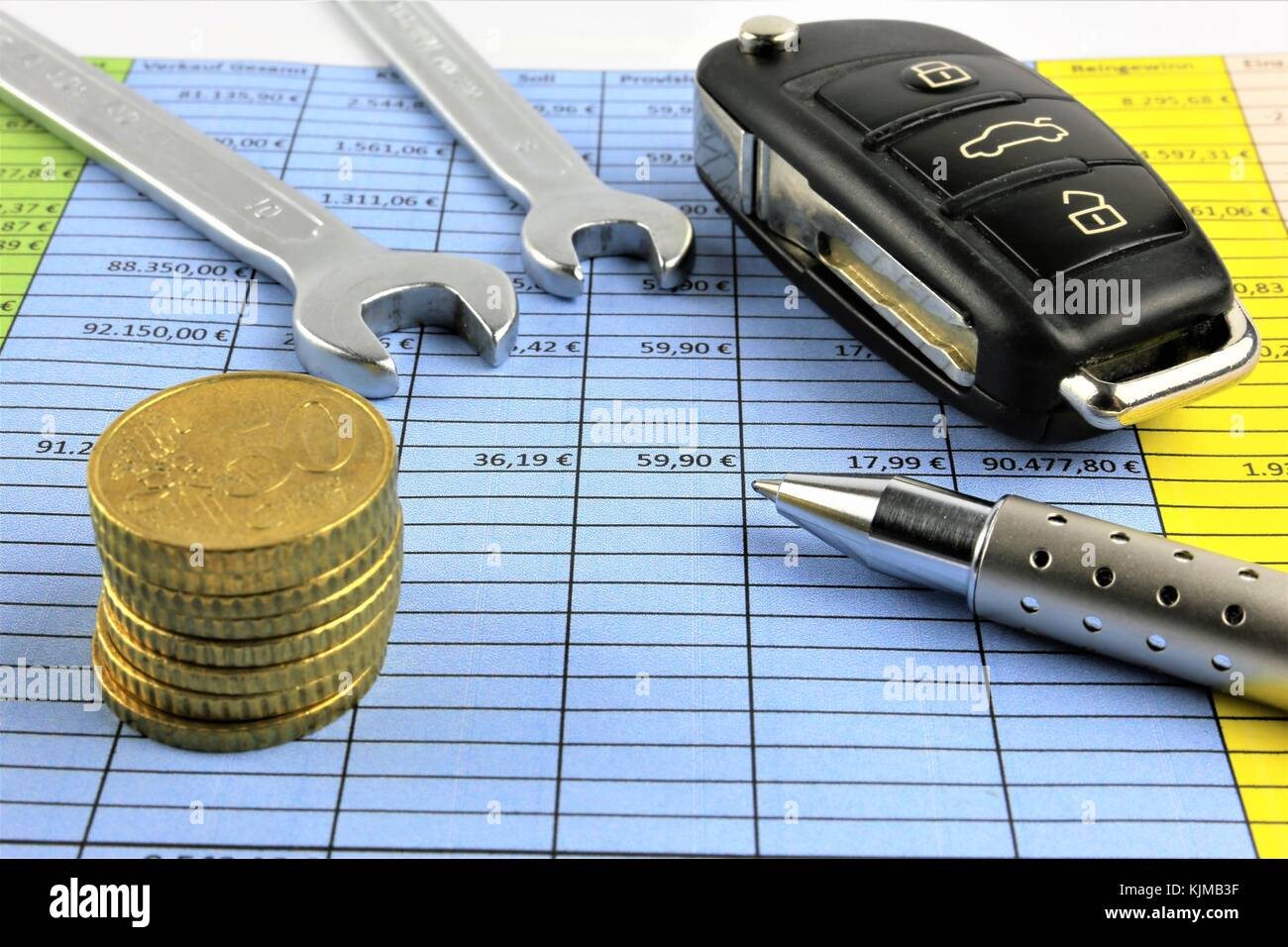 An concept Image of car maintenance costs - repair costs Stock Photo
