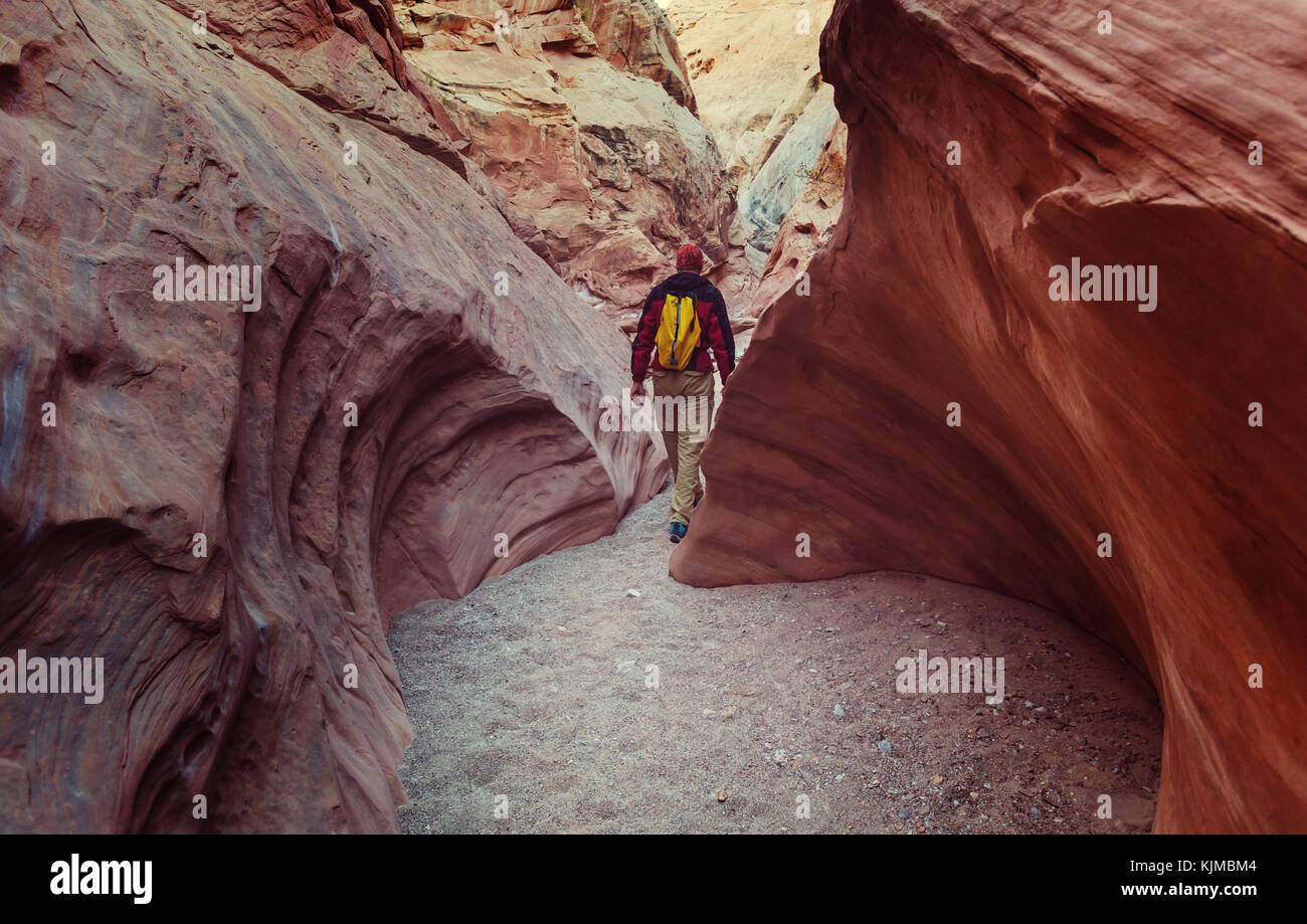 Happy Canyon fantastic scene. Unusual colorful sandstone formations in deserts of Utah are popular destination for Stock Photo