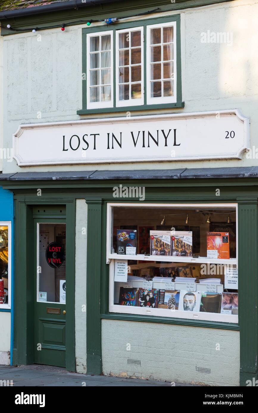Vinyl record specialty shop on Bridge st., Cambridge, England, UK. - Stock Image