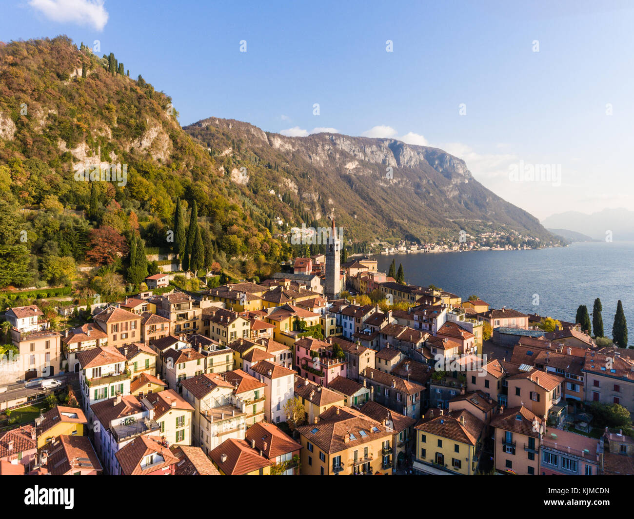 Typical houses of Varenna village, houses colourful and roofs, Aerial view from a drone. Lake of Como in Italy, - Stock Image