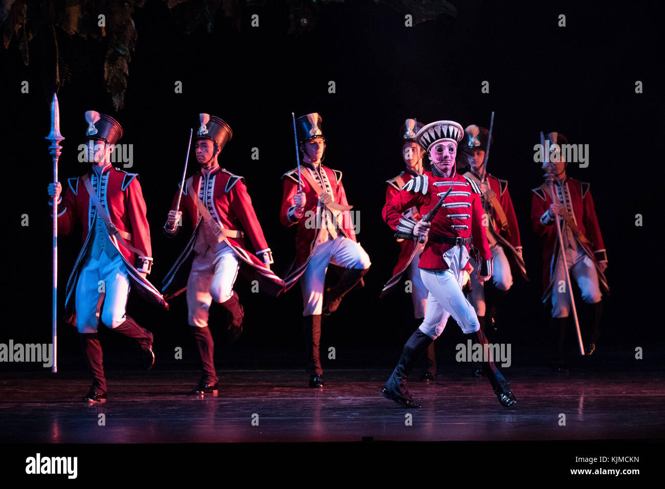 Dancers during a photocall for the Birmingham Royal Ballet's production of The Nutcracker at the Birmingham - Stock Image