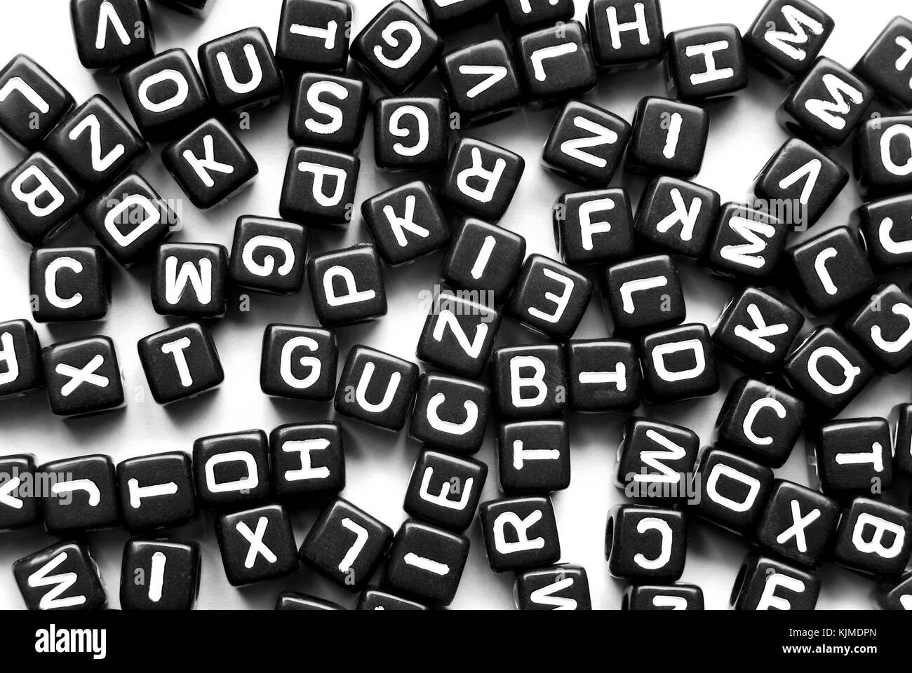 close up of the black letters background - Stock Image