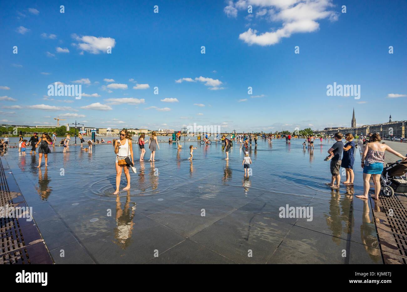France, Gironde department, Bordeaux, Miroir d'eau reflecting pool at Place de la Bourse - Stock Image