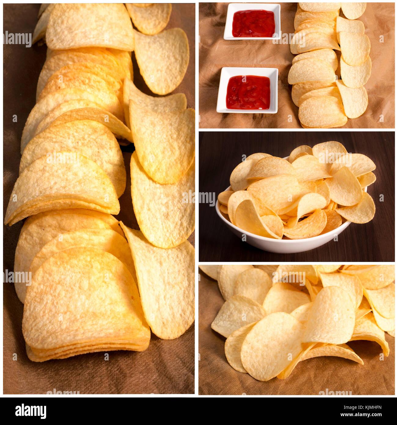 Fresh and homemade potato chips - Stock Image