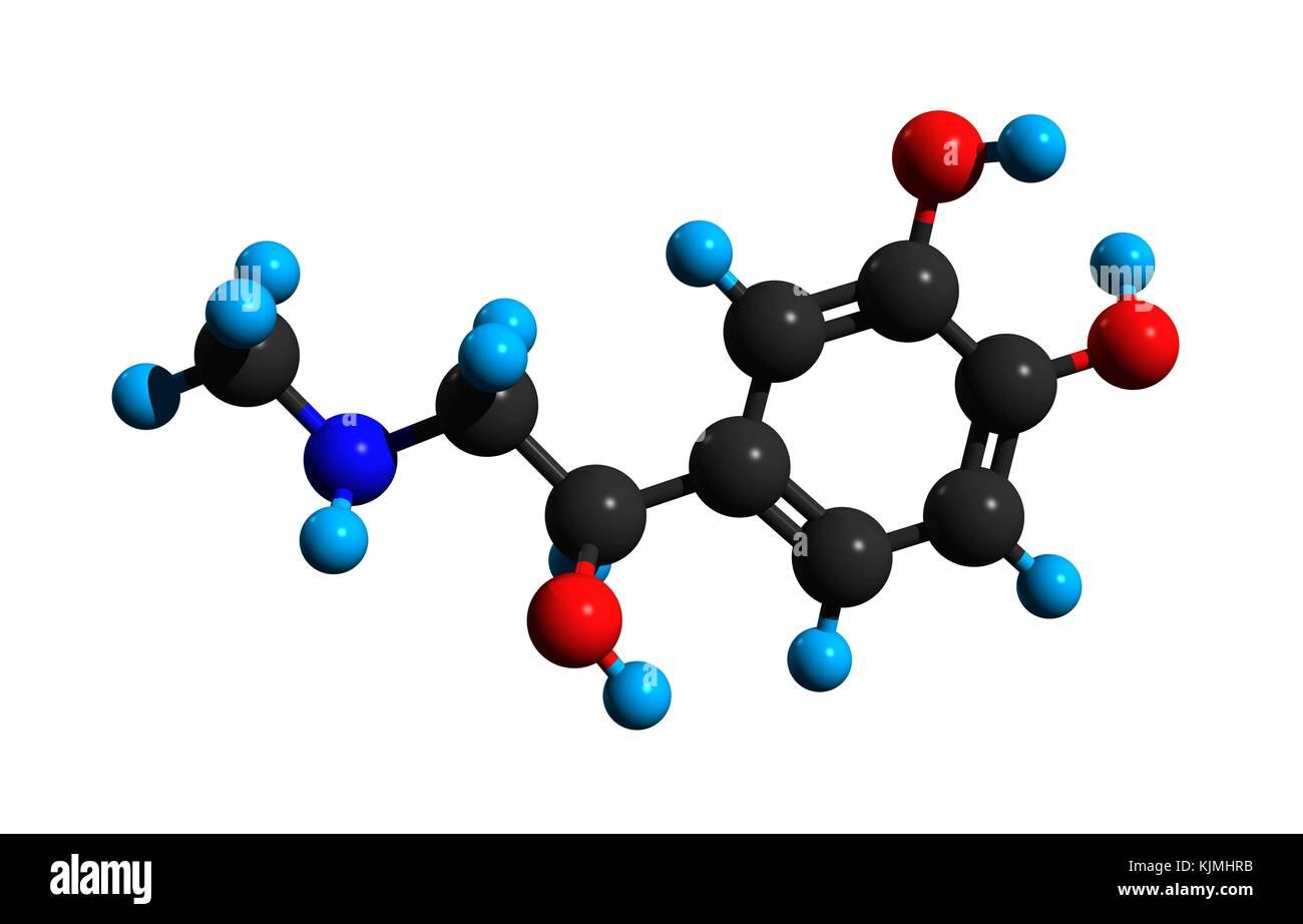 Molecular Structure Of Adrenaline Epinephrine A Hormone