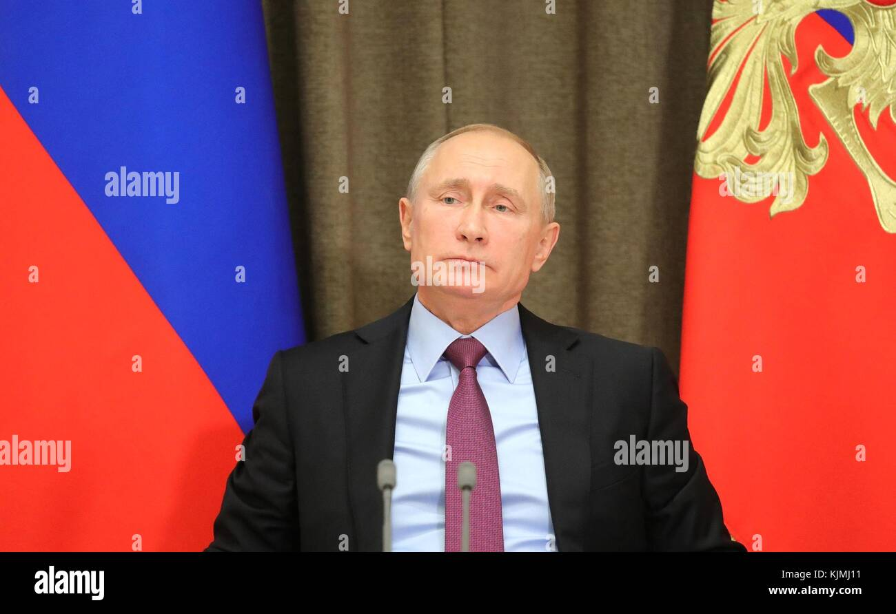 Russian President Vladimir Putin during a meeting with Defence officials at the Bocharov Ruchei residence November - Stock Image