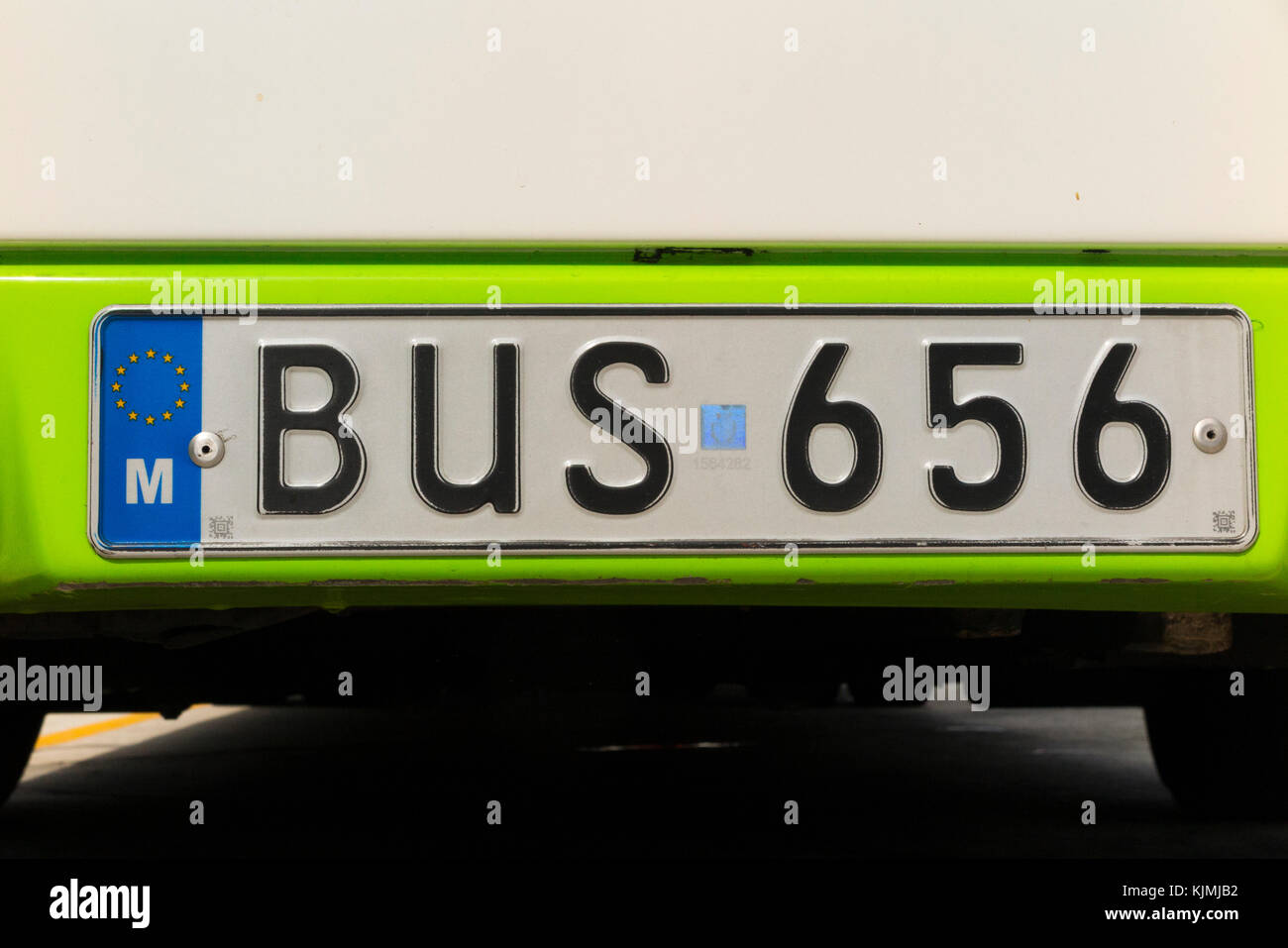 A bus numberplate / Number plate / registration plate / on a bus vehicle on the island of Malta. The word 'bus' - Stock Image