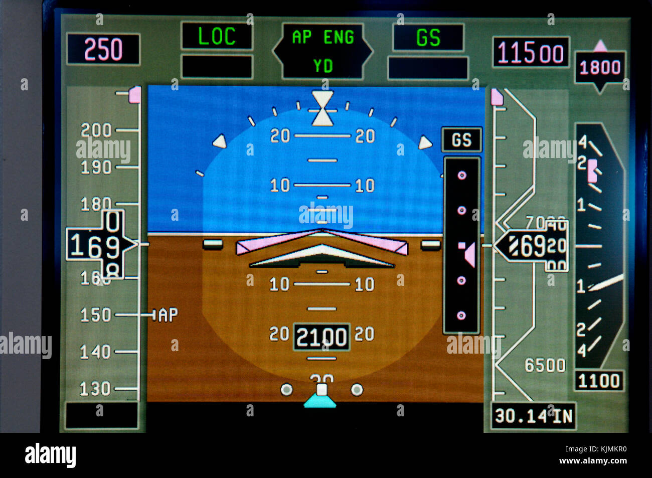 Honeywell Primus Epic CDS/R liquid crystal display glass-cockpit cockpit PFD primary-flight-display screen with - Stock Image