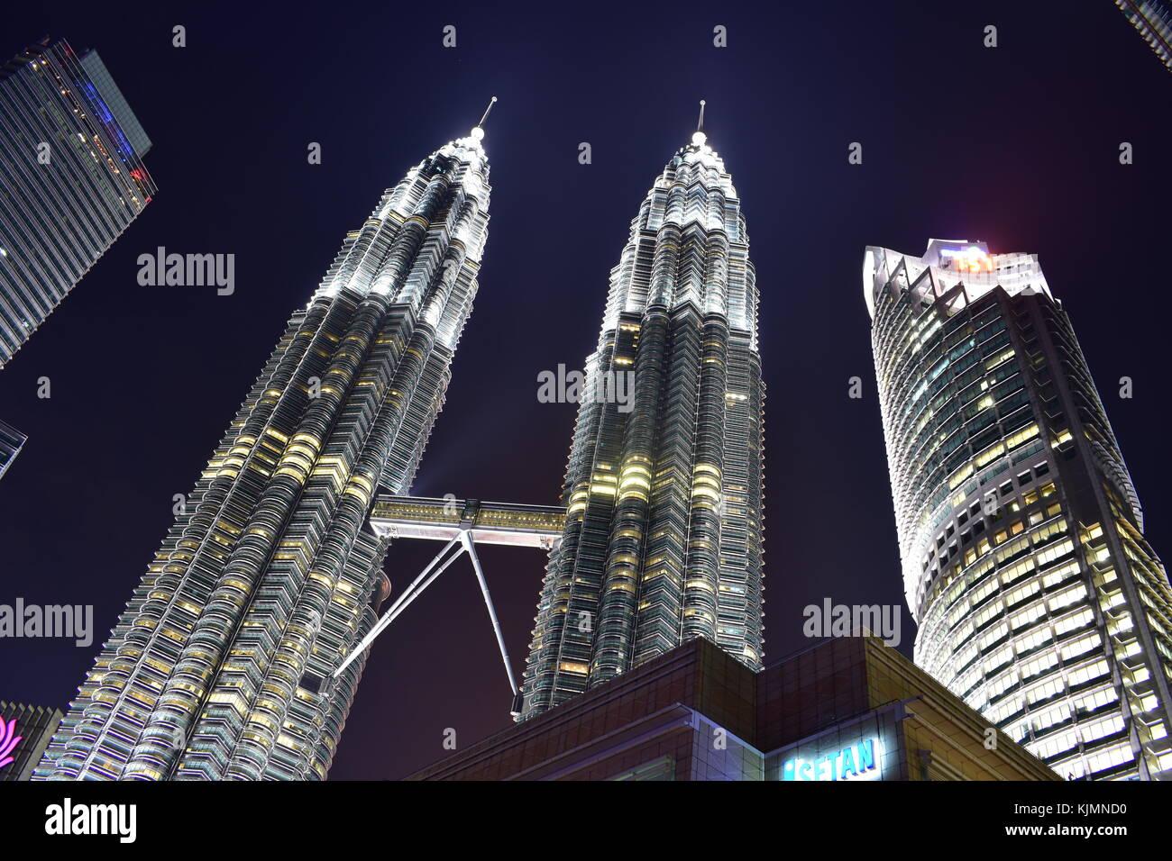 Kuala Lumpur, Malaysia - November 3, 2017:  Twin Towers Night View - Stock Image
