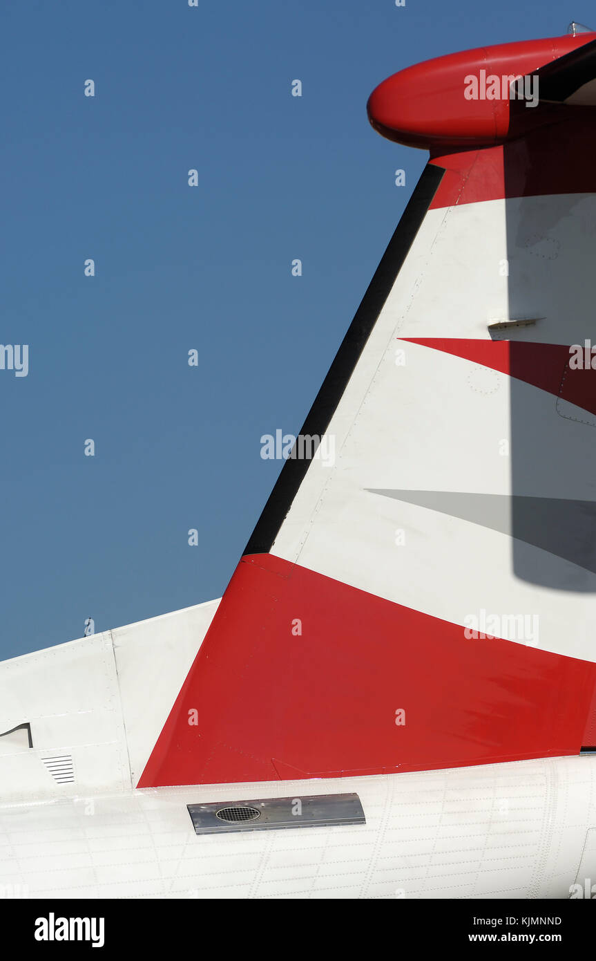 tail-fin of the Austrian Arrows Bombardier DHC-8 Dash 8-400 Q400 at the 2006 Farnborough International Airshow - Stock Image