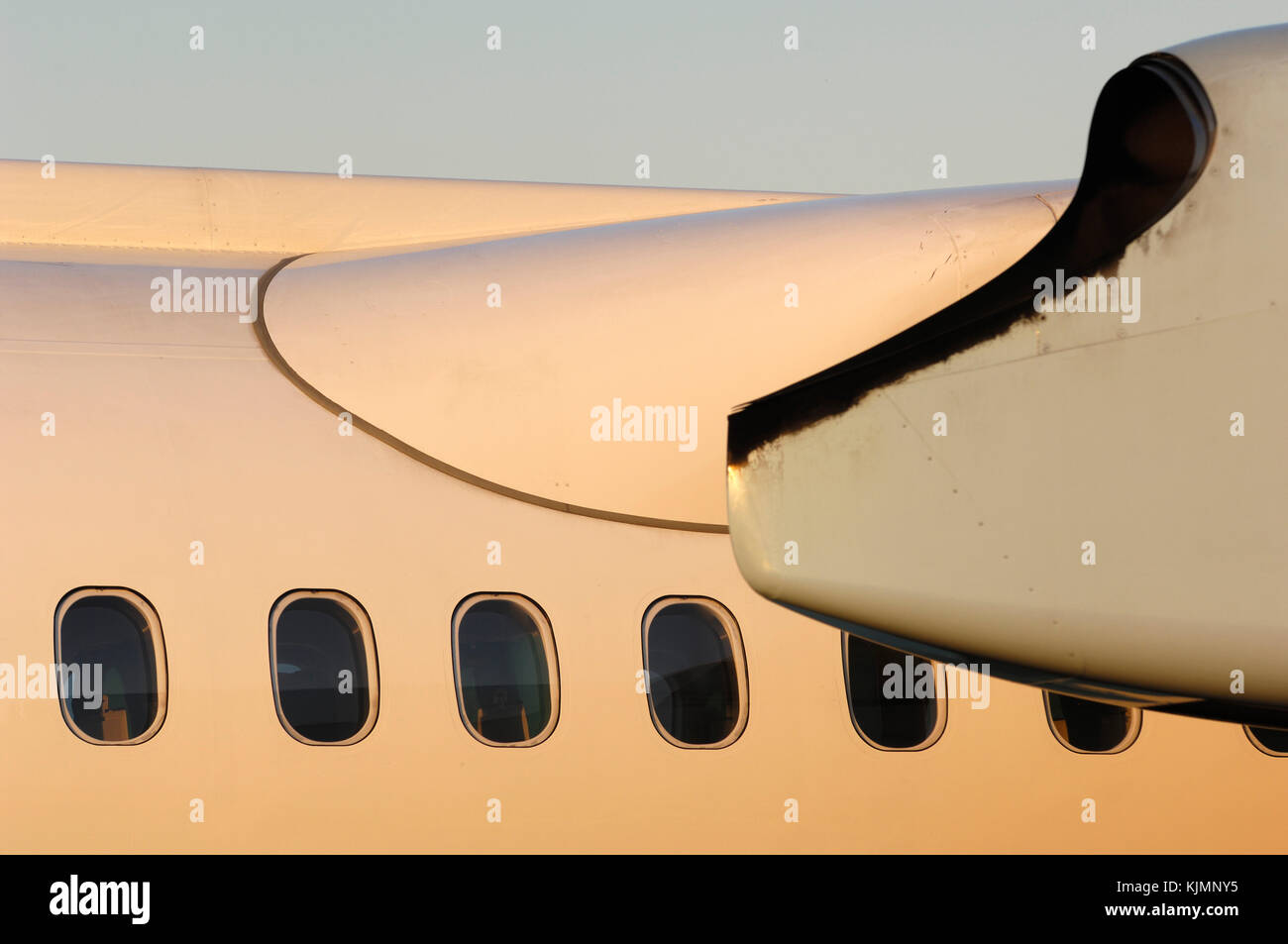 windows, wing fairing and the PW150A engine cowling of the Austrian Arrows Bombardier DHC-8 Q400 parked in the static - Stock Image