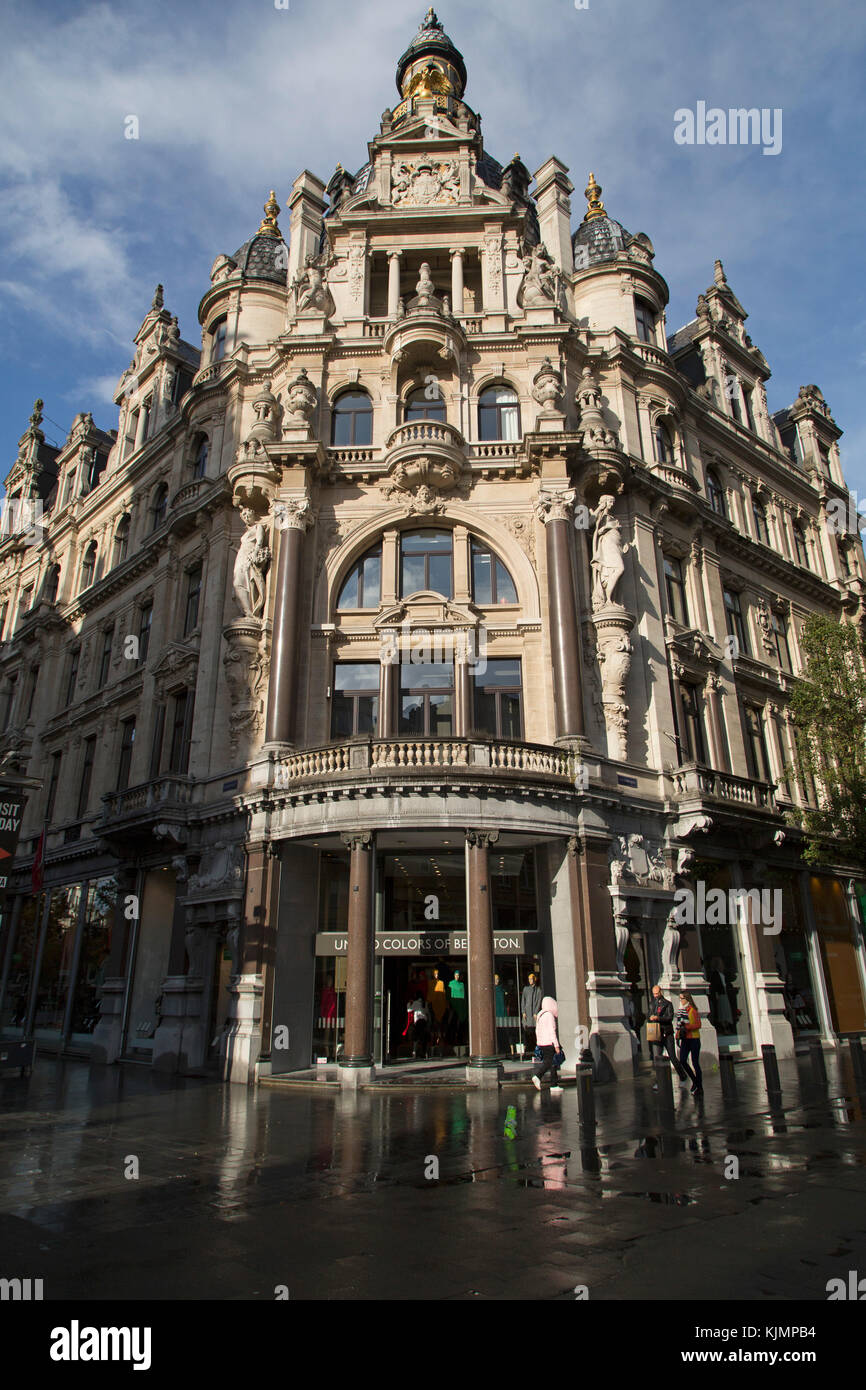 Benetton store in Antwerp, Belgium. The shop stands on the Meir, Antwerp's main pedestrianised shoping street. - Stock Image
