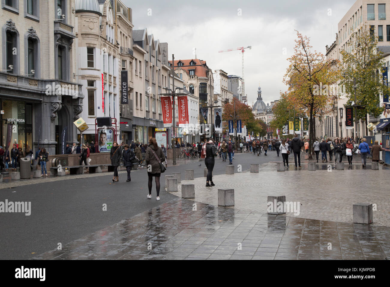 The  Meir in Antwerp, Belgium. The pedestrianized street is the city's main shopping area. - Stock Image