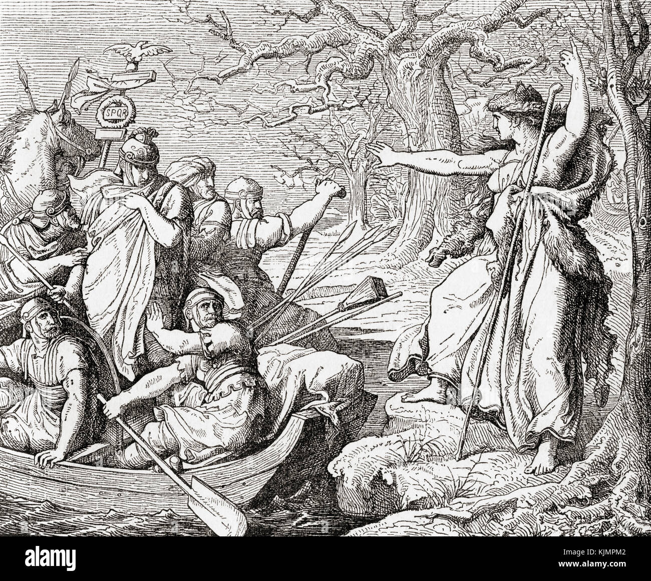 Veleda, a priestess and prophet of the Germanic tribe of the Bructeri swearing vengeance on the Roman invaders, - Stock Image