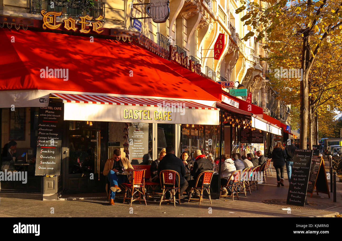 The traditional Parisian cafe Le Castel located near Eiffel tower in Paris, France. Stock Photo